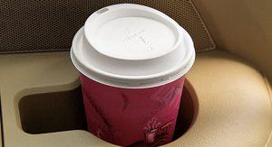 ta coffee cup in car holder